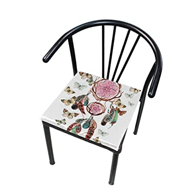 Bardic FICOO Home Patio Chair Cushion Boho Dreamcatcher Feather Square Cushion Non-Slip Memory Foam Outdoor Seat Cushion, 16x16 Inch: Home & Kitchen