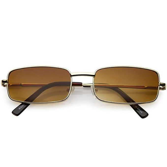 214bf0bfe27 sunglassLA - Classic Small Metal Rectangle Sunglasses For Women Men Flat  Lens 54mm (Gold