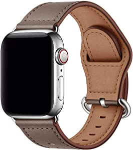 OUHENG Compatible with Apple Watch Band 40mm 38mm 44mm 42mm, Genuine Leather Band Replacement Wristband Strap Compatible with iWatch SE Series 6 5 4 3 2 1 (Taupe/Silver, 40mm 38mm)