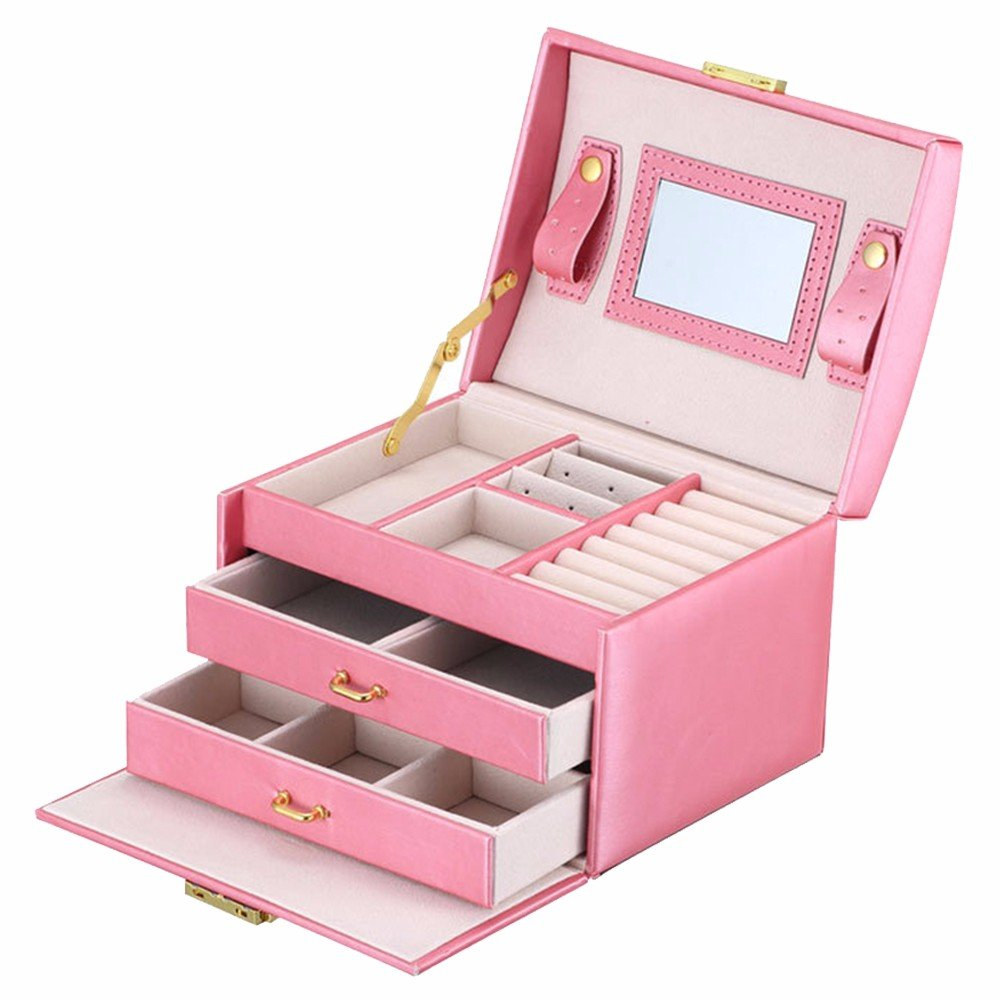 Soaptree Pink Portable Jewelry Boxes Faux Leather Ring Earring Drawer Organizer Case,Gift for Christmas( A-Pink )