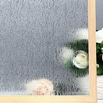 VELIMAX Static Cling Rain Glass Window Film Removable Rain Decorative Window Film Privacy Anti-UV Heat Control (17.7