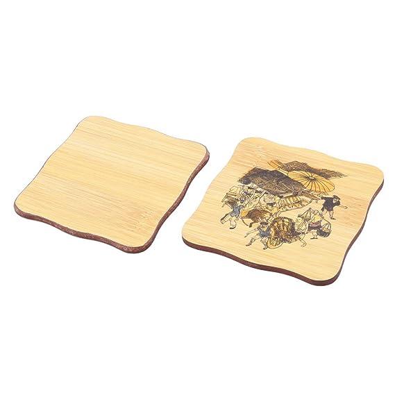 Amazon.com | Patrón de bambú eDealMax Multitudes de cocina Plaza Copa Tazón de calor estera del cojín resistente Coaster Set Madera Color: Coasters