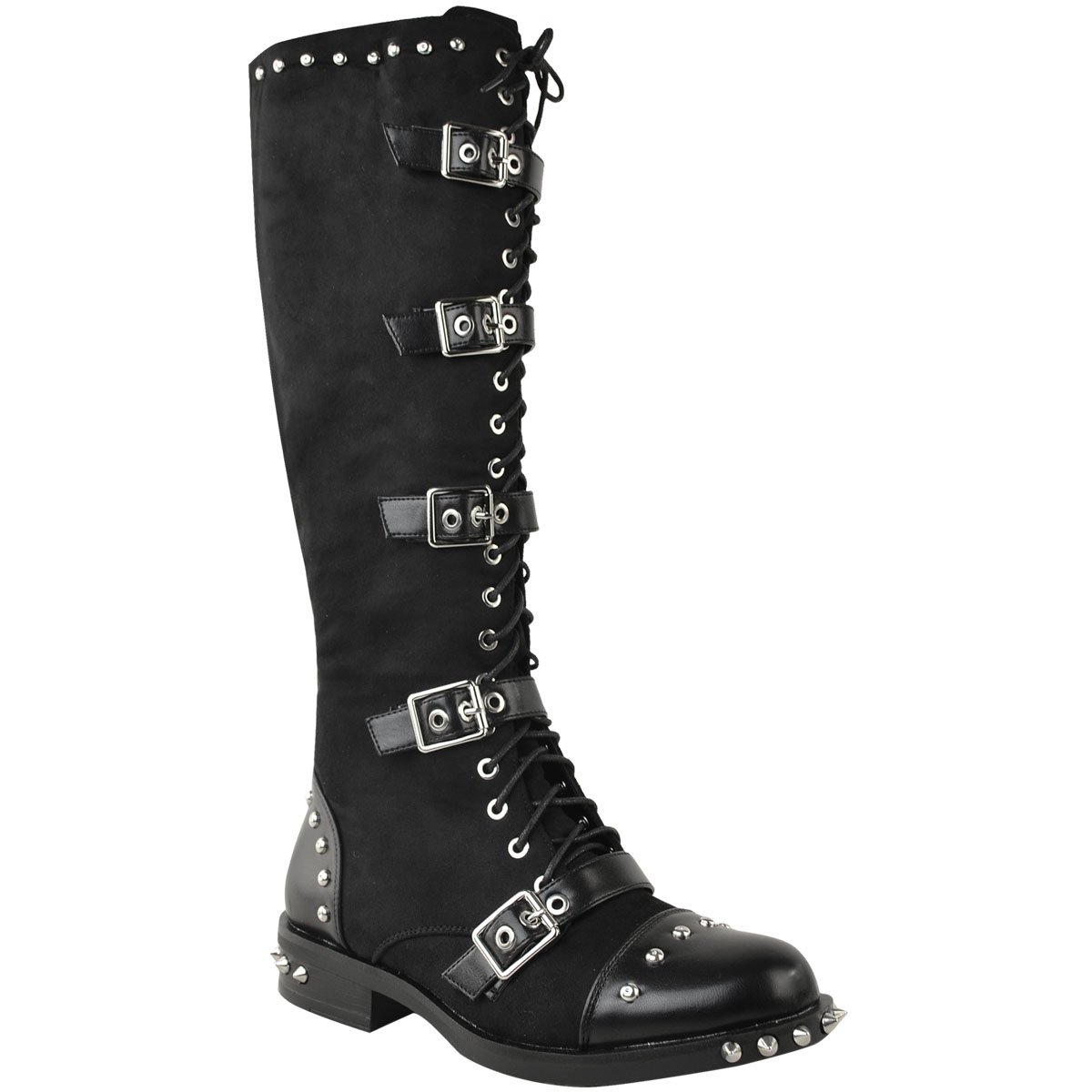 Fashion Thirsty Womens Knee High Studded Punk Grunge Spiky Winter Boots Size 7