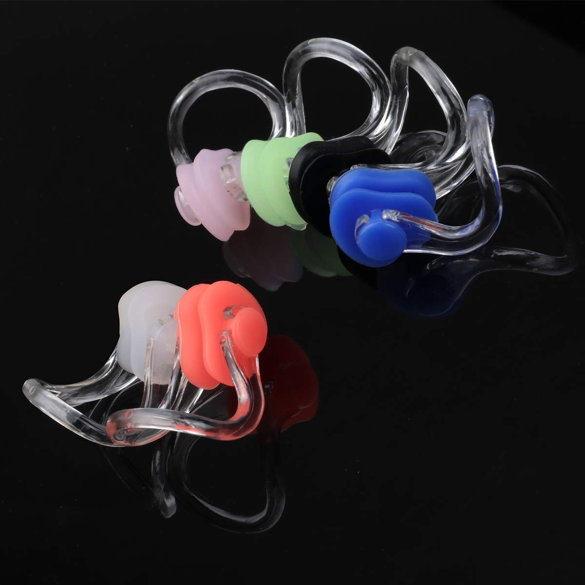 AOPRIE Nose Clip 12 Pcs Waterproof Silica Gel Swimming Nose Clips Soft Comfort Nose Protector for Adults & Kids 6 Colors by AOPRIE