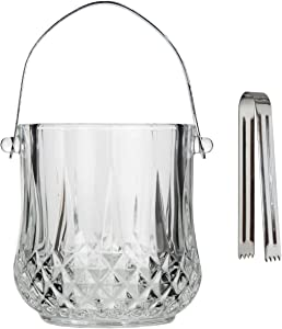 Lily's Home Glass Ice Bucket with Handle and SS Tongs, This Beautiful Piece is Ideal for Entertaining and Every Day Use
