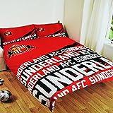 Sunderland AFC Official Impact Reversible Football Crest Double Duvet Cover Bedding Set (Full) (Red)