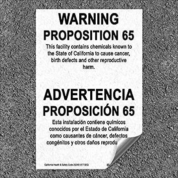 CGSignLab 5-Pack California Proposition 65 Bilingual Warning Sign Heavy-Duty Industrial Self-Adhesive Aluminum Wall Decal 32x48
