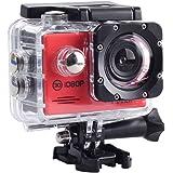 SAC フルHD 1080p 対応赤色アクションカメラ 2インチ液晶 30M防水ケース付き AC200RD