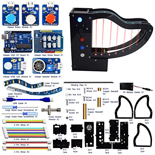 Adeept Laser Piano with Laser Transmitter and photoresistors, Laser Harp Kit for Arduino UNO R3 | STEAM Starter Kit | Arduino Starter Kit with Tutorial - Instrument Cross Cable