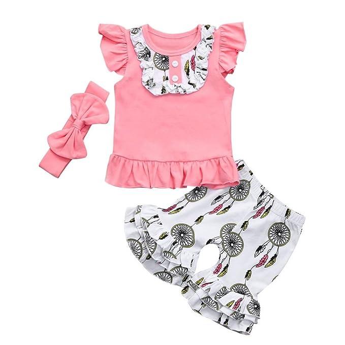 Stirnband Outfit Kleidung Set Hose 3pcs Kinder Kind Mädchen Baby Baby Top