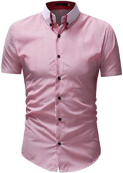 CHENS Camisa/Casual/Unisex/XXL Camisa de Rayas Camisa de Verano para Hombre Tallas Grandes Casual Botón Abajo Camisa de Manga Corta Top Blusa Ropa roja: Amazon.es: Deportes y aire libre