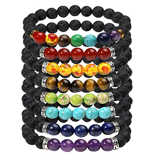 Solar Plexus Chakra - Eigso 8 Pcs 7 Chakra Bracelet Set for Women Men Lucky Lava Rock Stone Meditation Beads with Reiki Healing