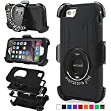 iPhone 6 Case, Honeycase Military Extreme-Duty Shockproof Full Body Rugged Hybrid Armor Case Cover With Belt Clip Holster Rotating Kickstand and Screen Protector for Apple iPhone 6 4.7 inch,Black