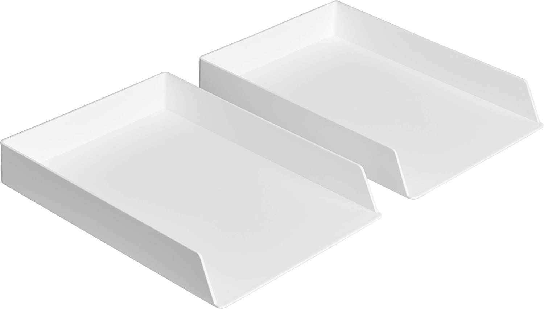 AmazonBasics Plastic Desk Organizer - Letter Tray, White, 2-Pack