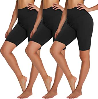 "YOLIX High Waisted Biker Shorts for Women - 8"" Soft Tummy Control Stretchy Yoga Shorts for Workout, Training, Running"