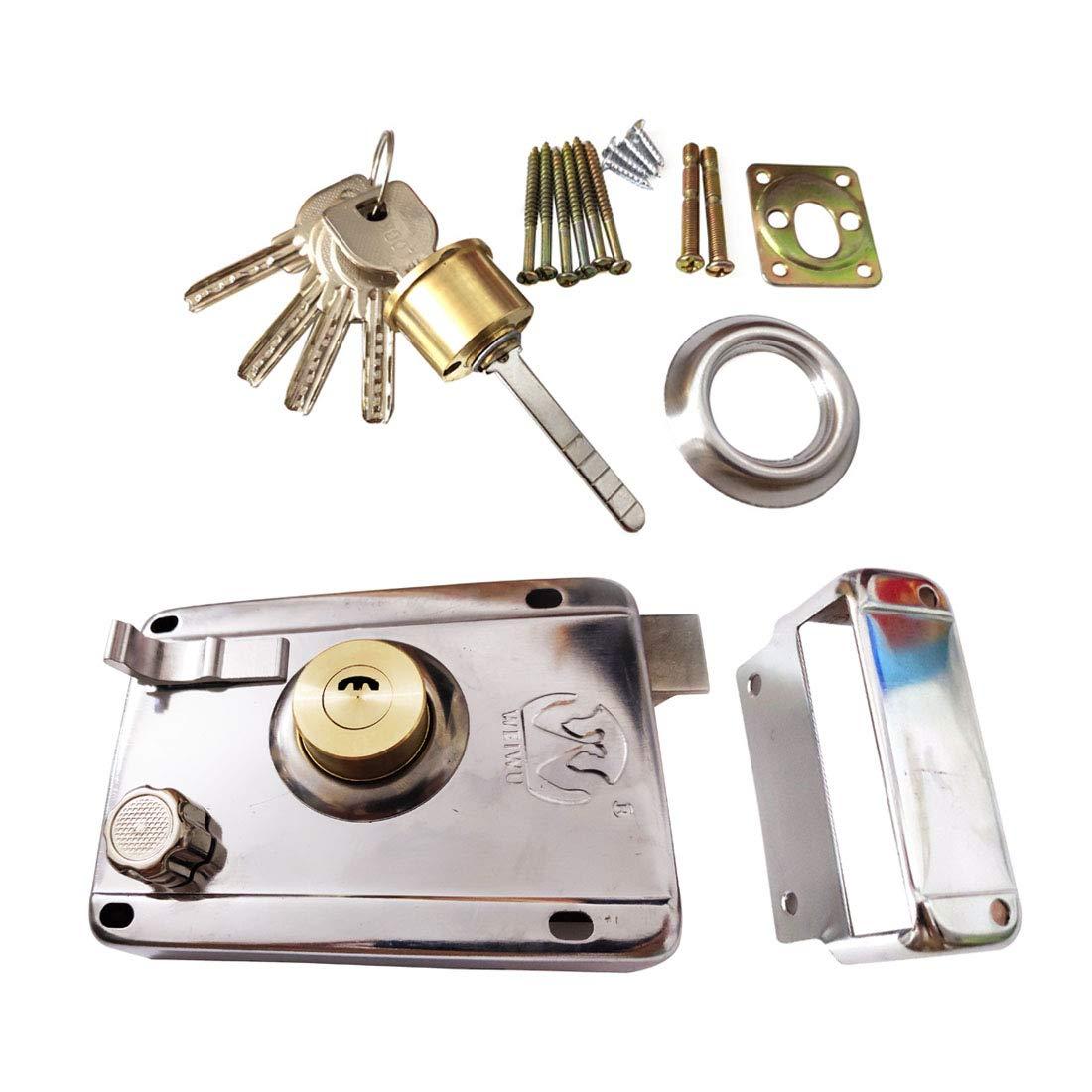 Sepuly Safety Vertical Keyway Cylinder Deadbolt Rim Lock Set Exterior Door Rim Lock 4.72x3.35inch Anti-Theft Lock for Home