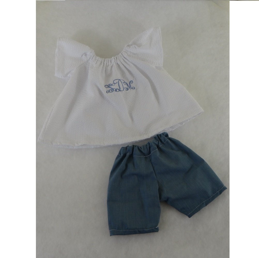 18 Doll Clothing Personalized Peasant Dress And Shorts Set With Your Monogram