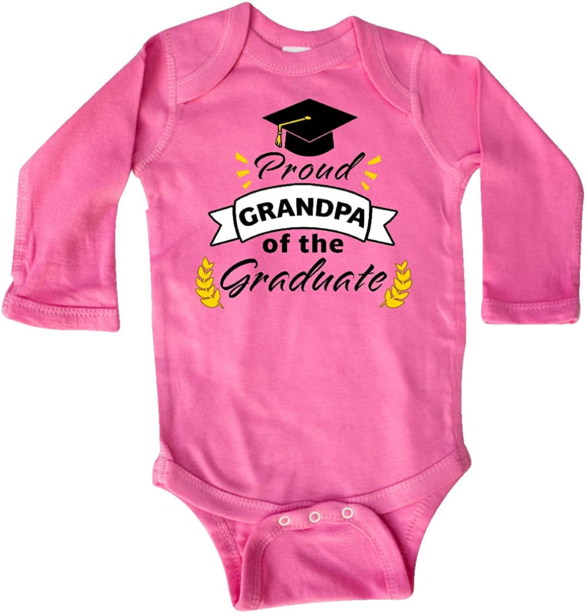inktastic Proud Grandpa of The Graduate-Family Graduation Long Sleeve Creeper