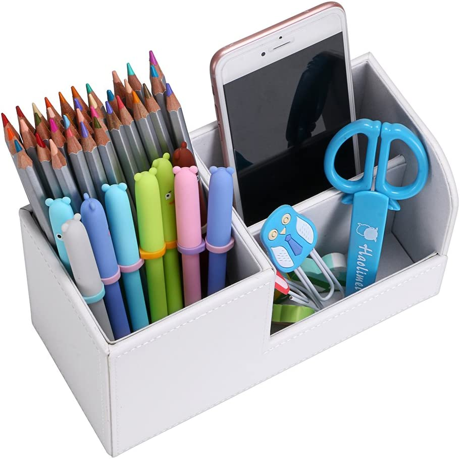 Sumnacon 3 compartiments Organisateur de Crayon//bureau en PU Cuir s/'adapter au Bureau,taille-20,5cm *9,3cm *11cm Noir longueur*largeur*hauteur