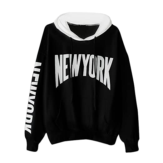 b7f51986 Womens New York Letters Long Sleeve Hoodie Sweatshirt Hooded Pullover Tops  Casual Thin Blouse at Amazon Women's Clothing store: