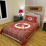 RajasthaniKart Classic 144 TC Cotton Single Bedsheet with Pillow Cover - Abstract, Red