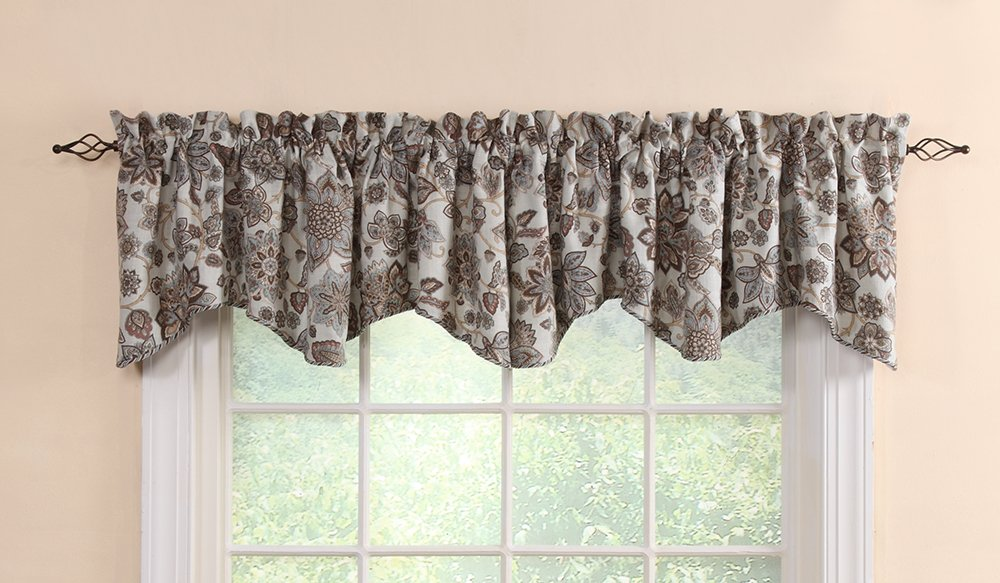 Stylemaster Twill and Birch Cassidy Lined Scalloped Valance with Cording, 52-Inch by 17-Inch, Spa