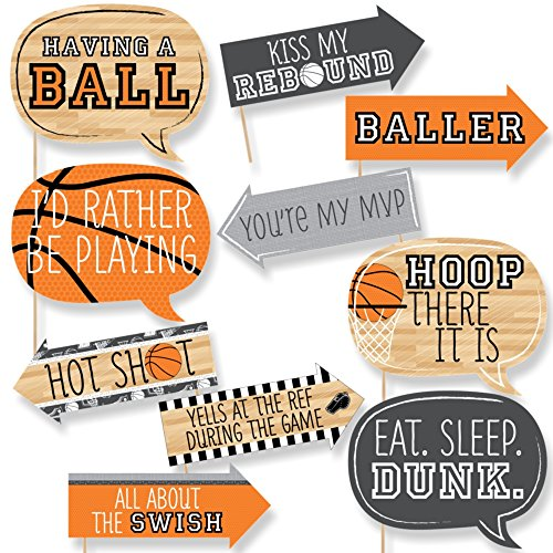 Funny Nothin But Net - Basketball - Tailgating Party Photo Booth Props Kit - 10 Piece