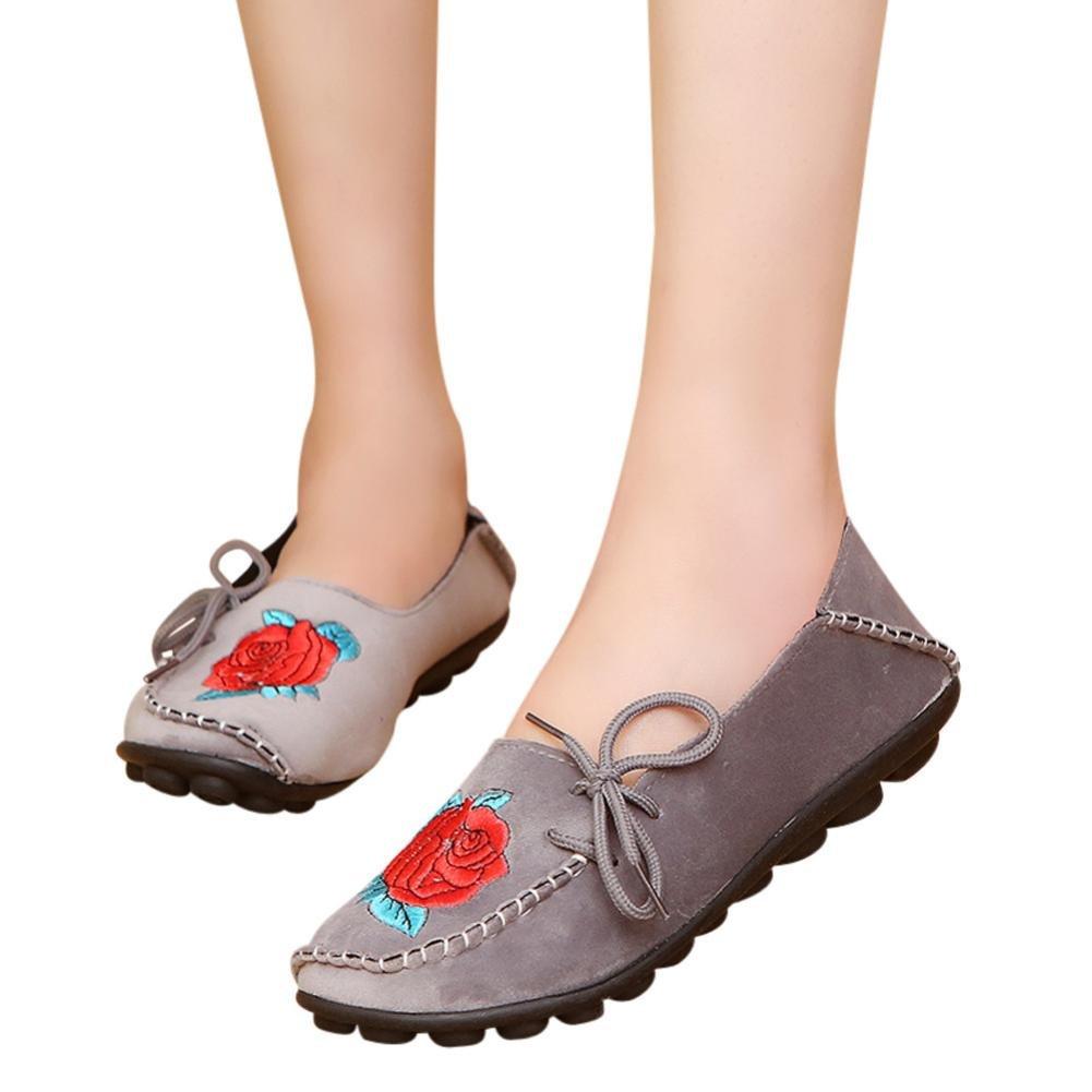 yjydada女性用フラットシューズ刺繍ソフトボトム靴柔らかいスリップオンカジュアルボートシューズ B07CNQL2DX 42|グレー グレー 42