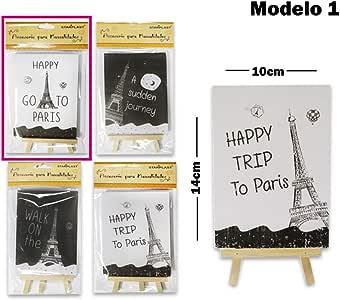 Starplast Mini Pizarras de Madera, Mini Pizarras de decoración, diseño Happy Trip To Paris, 10x14cm con atril para rotulador, decorar, dibujar, plantas,etc. Modelo 1: Amazon.es: Oficina y papelería