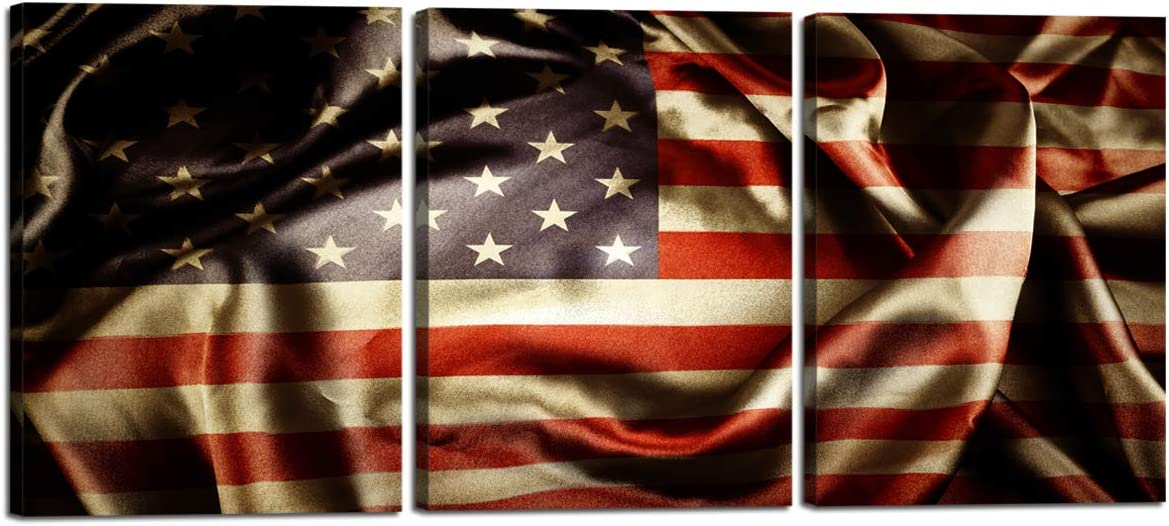 Contemporary Wall Art for Bedroom Living Room Prints Posters 3 Pieces Pictures Gallery-wrapped Black Retro American Flag Home Decor Painting Stretched By Wooden Frame,Ready To Hang 12 W x 16 H x 3
