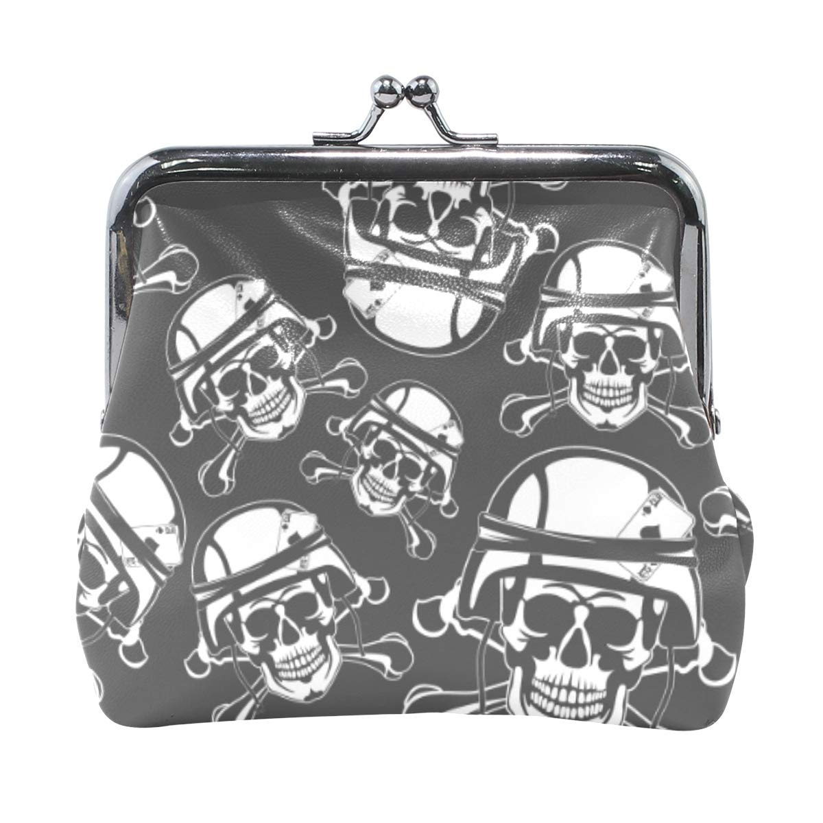 WIHVE Fashion Womens Coin Purse Skull In A Military Helmet Vintage Pouch Mini Purse Wallets