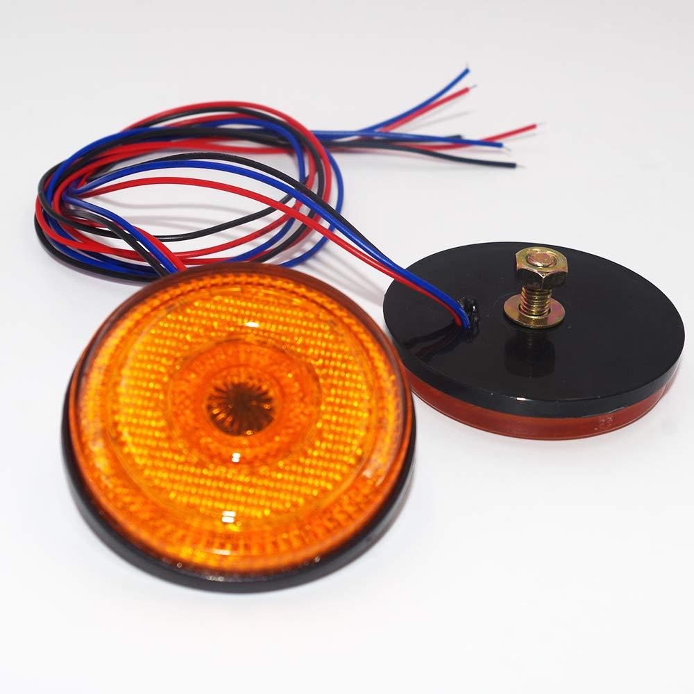 Smoke Ricoy 4Pcs 2.3 24 LED 12V Round Side marker Turn Signal Brake Flash Warning Yellow /& Red Light