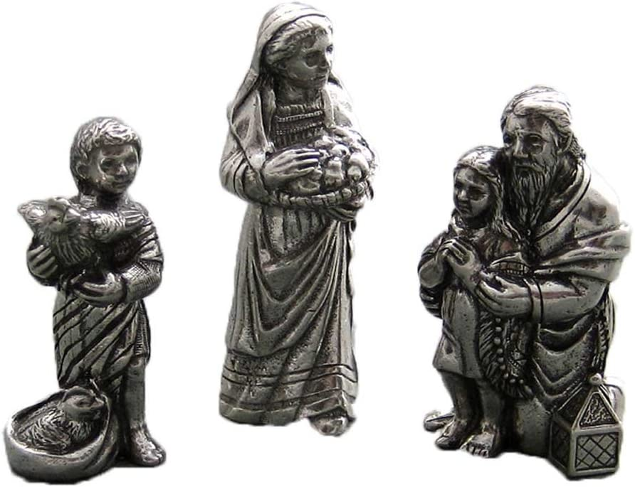 Gift Boxed Made in USA DANFORTH Innkeeper Family Pewter Nativity Set