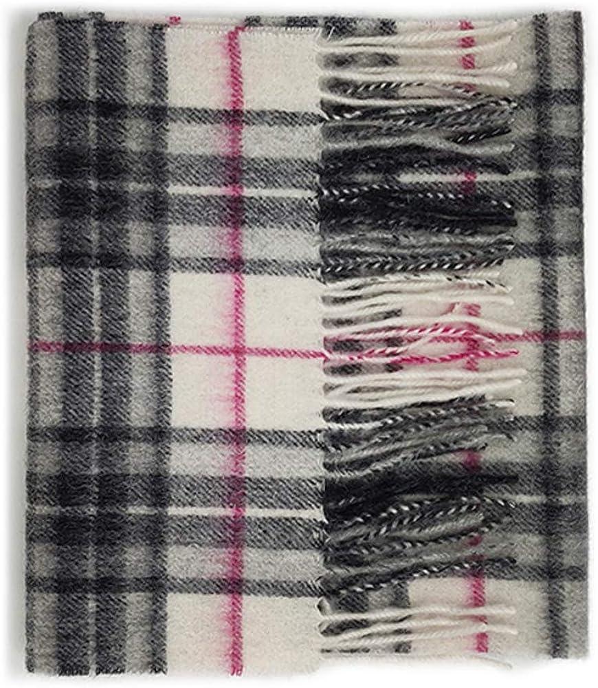 FREE FAST SHIPPING Scottish 100/% Lambswool Light Pink /& Grey Tartan Scarf New
