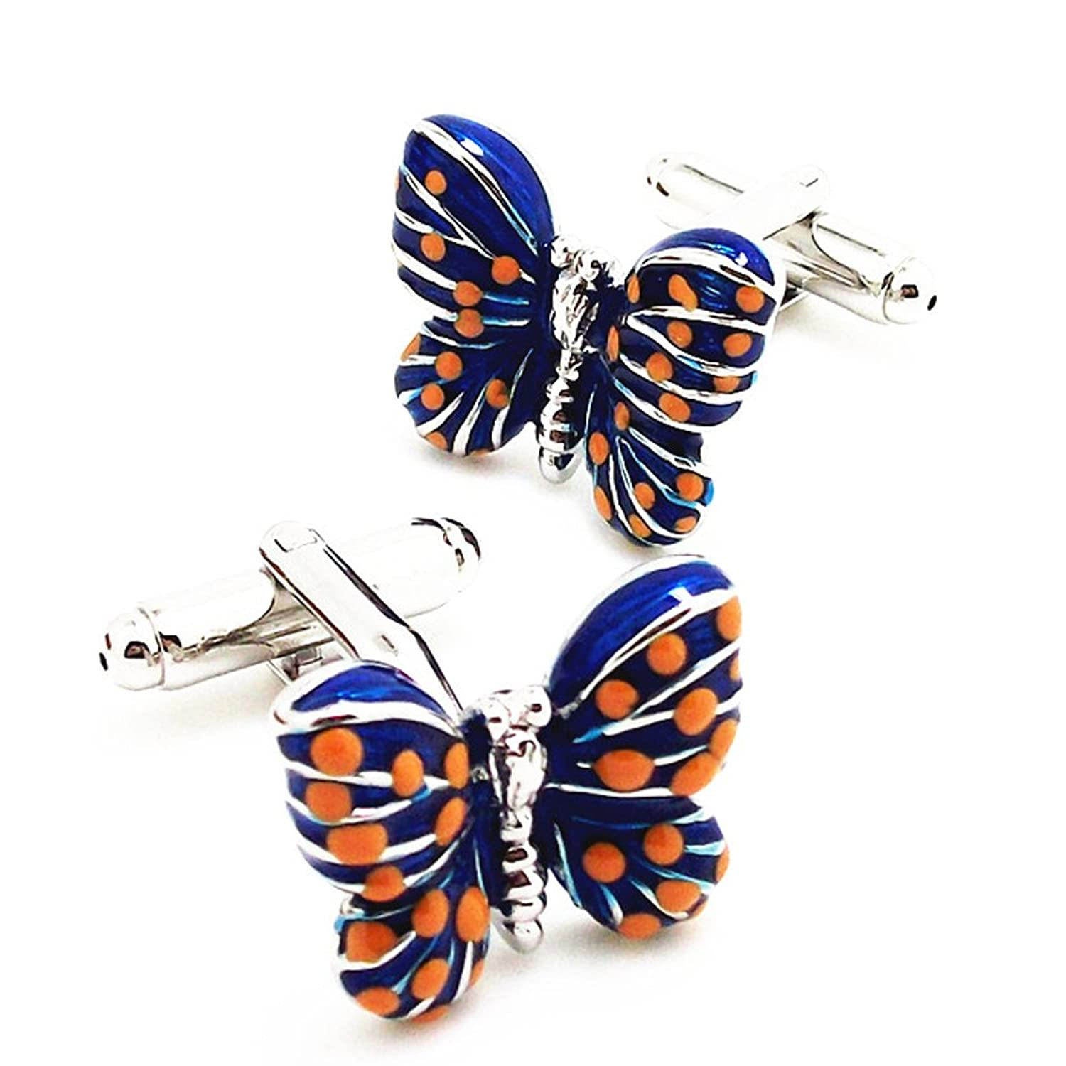 Covink® Blue Butterfly Cufflinks Lover's Business Casual French Cuff Shirt Sleeve in Enamel with Gift Box