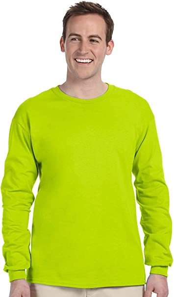 Classic Fit Adult Long Sleeve T-shirt Ultra Cotton Safety Green Gildan 2400 First Quality 5X-Large