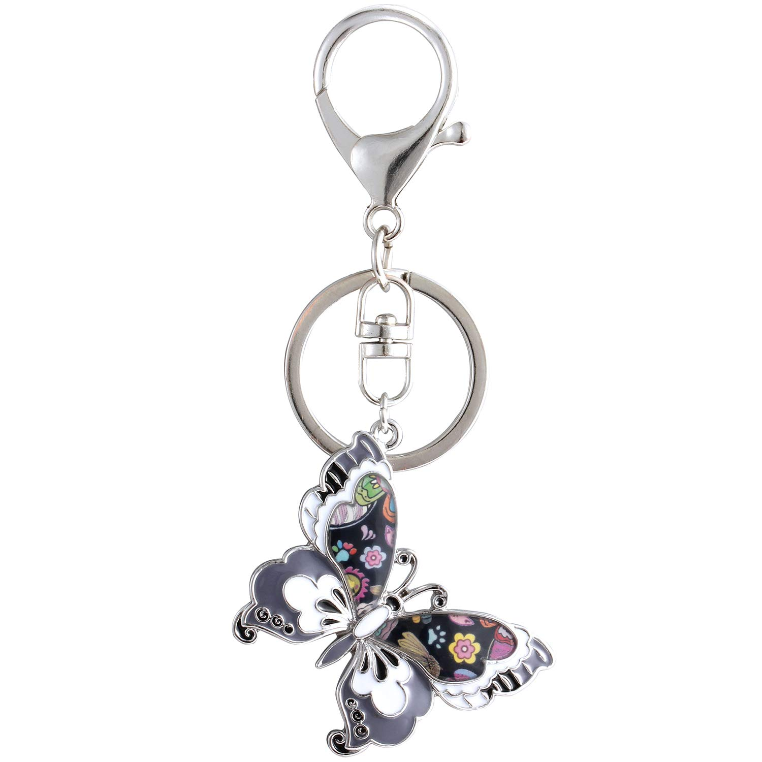 Luckeyui Personalized Butterfly Keychain Gifts for Women Black Enamel Insect Charm Keyrings