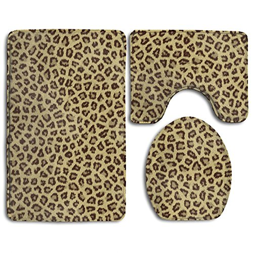 Light Green Animal Backing (3-Piece Leopard Animal Print Skid Resistance Bathroom Rug Mat Contour And Toilet Lid Cover)