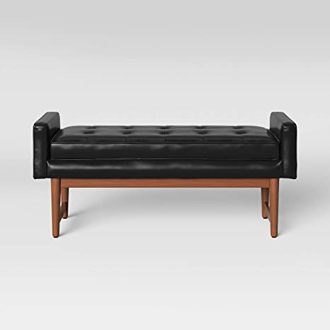 Pleasing Amazon Com Verken Mid Century Modern Faux Leather Bench Inzonedesignstudio Interior Chair Design Inzonedesignstudiocom