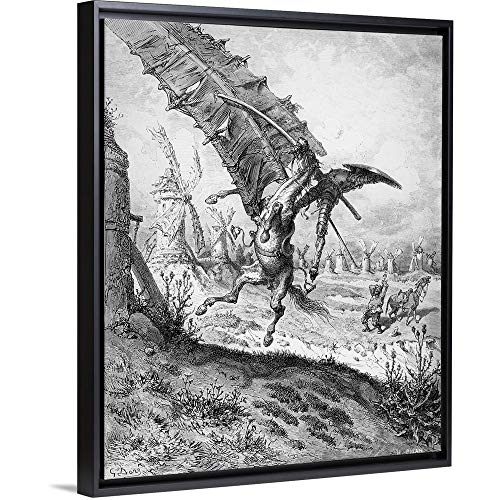 Gustave Dore Floating Frame Premium Canvas with Black Frame Wall Art Print Entitled Don Quixote and The Windmills, from Don Quixote de la Mancha by Miguel Cervantes 11