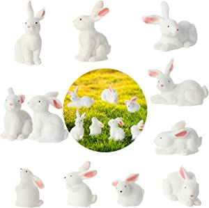 Jakie-Mar Total 16Pcs Cute Animal Mini Bunny Figurines Rabbit Cake Topper Rabbit Miniature Decoration for Garden Office & Home