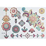 XL FARBIGE BUNTE METALLIC TATTOO FLASH TATTOO MANDALA Henna Design Motive Gold Rosa Blau Lila Blumen Tattoo Kleber für Körper SC02 - XL Bogen