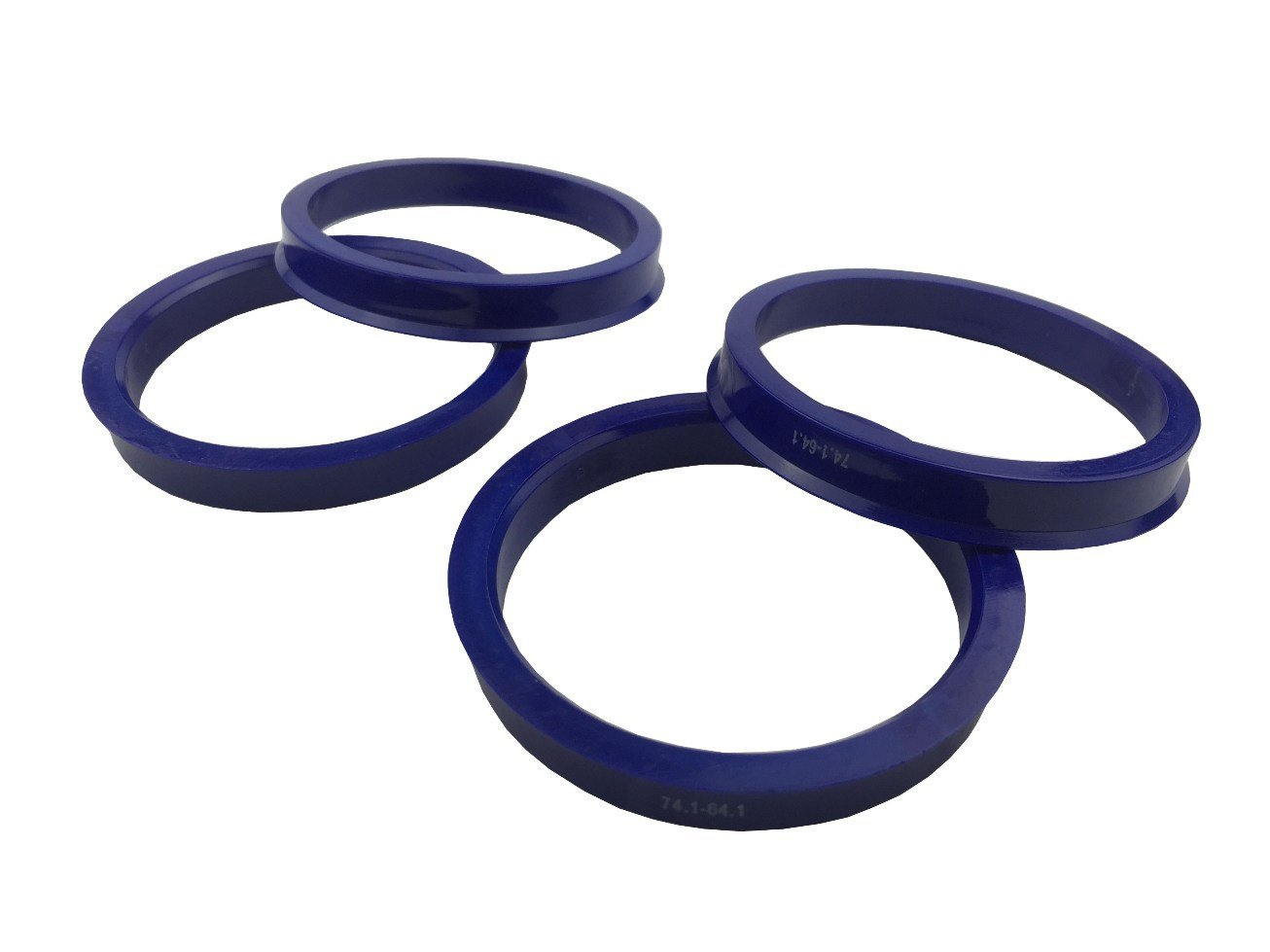 4 Pieces - Hub Centric Rings - 74.1mm OD to 64.1mm ID - Dark Blue Poly Carbon Hub Rings JianDa