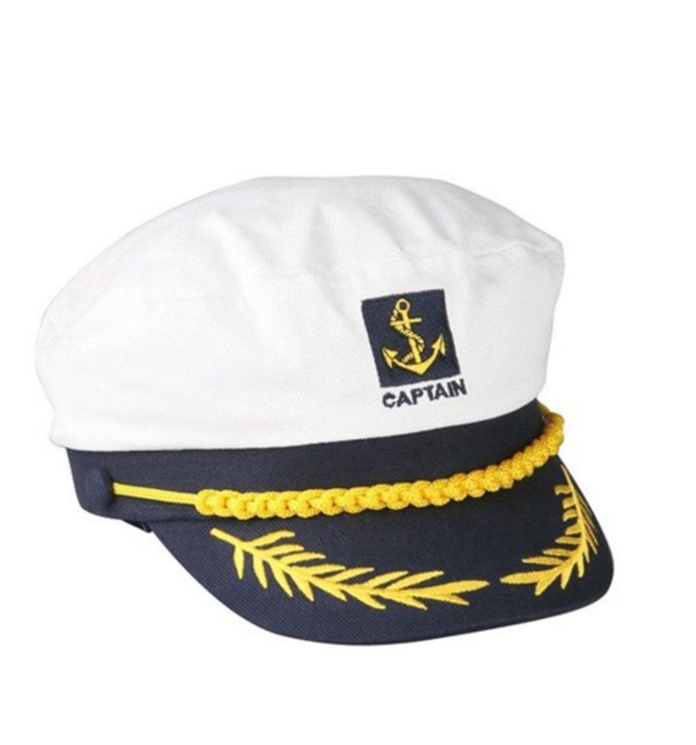 Welshow Sailor Ship Boat Captain Hat Navy Marins Admiral Adjustable Cap White