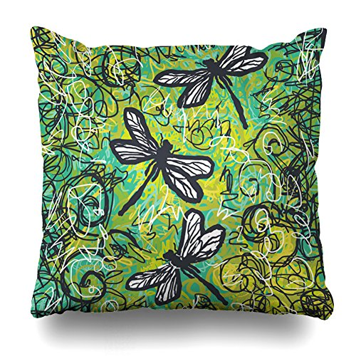 Decorativepillows 20 x 20 inch Throw Pillow Covers,Three Dragonflies Gold And Teal Art Pattern Double-sided Decorative Home Decor Indoor/Outdoor Garden Sofa Bedroom Car Kitchen Nice Gift