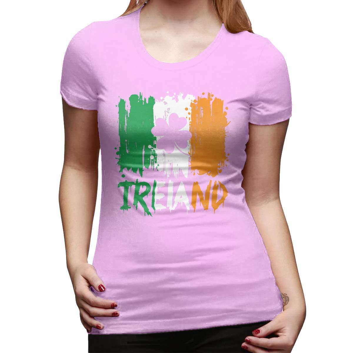 Irish American Flag Womens Basic Short Sleeve Top Crew Neck T-Shirts