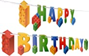 Building Block Birthday Party Supplies Banner by Aliza | Baby Boy Toddler Kids Birthday Decorations – Huge 7-feet Long Brick