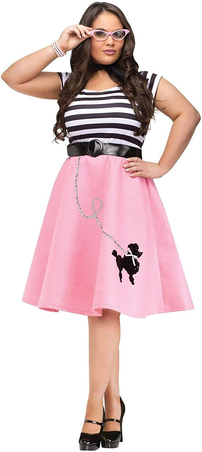 Adult 50s Soda Shop Sweetie Poodle Skirt Costume