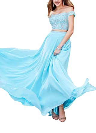 Plus Size Prom Dresses Formal Gowns Off The Shoulder Beading Crystals Chiffon Evening Party Dress Turquoise