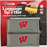 Wisconsin Badgers Original Patented Luggage Spotter® Luggage Locator / Handle Grip / Luggage Grip / Travel Bag Tag / Luggage Handle Wrap (2 PACK) - Best Selling Luggage Wrap! Great Gift For Any Occasion! CLOSEOUT! ONLY A FEW SETS LEFT!